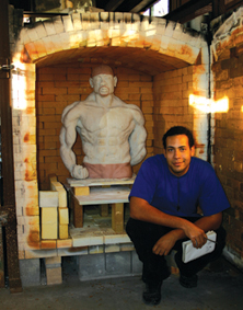 Image of Kiln with Student